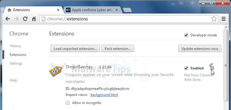 how to delete coupon drop down chrome
