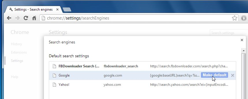 [Image: Change default search engine from FbDownloader Search to Google]