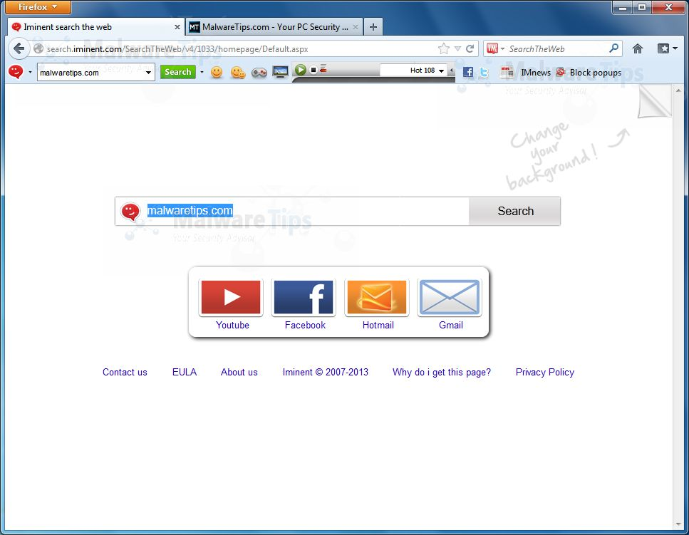 [Image: Iminent Toolbar and Search homepage]