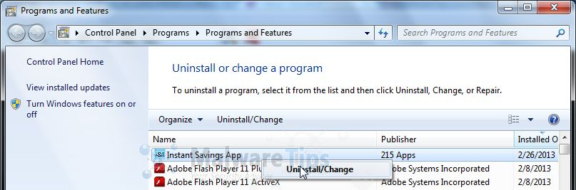 [Image: Uninstall InstantSavingsApp program]