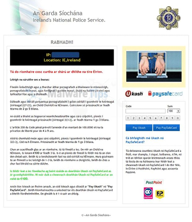 Remove Ireland's National Police Service virus (Ukash Scam)
