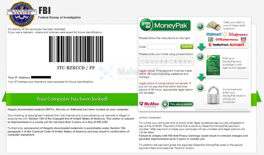 [Image: FBI Anti-Piracy Warnig Greendot MoneyPak scam]