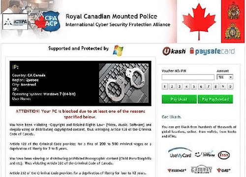 Remove Royal Canadian Mounted Police Virus Ukash Scam