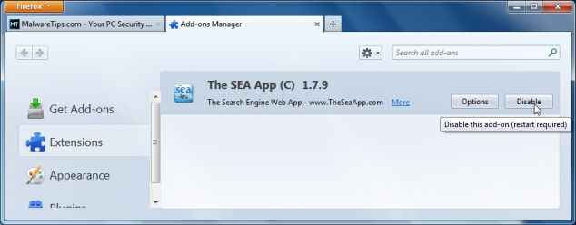 [Image: TheSeaApp Firefox extensions]