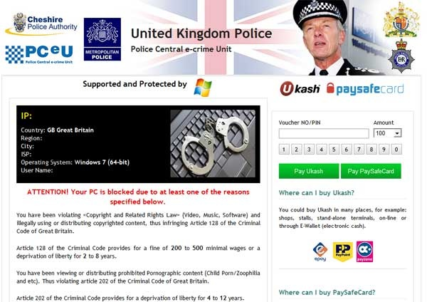 If your computer is infected with the United Kingdom Police virus, you