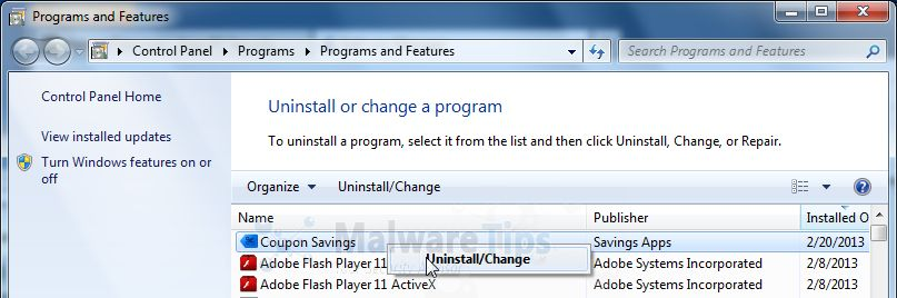 [Image: Uninstall bSaving program]