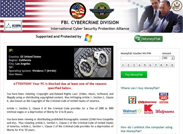 [Image: FBI Cybercrime Division virus]