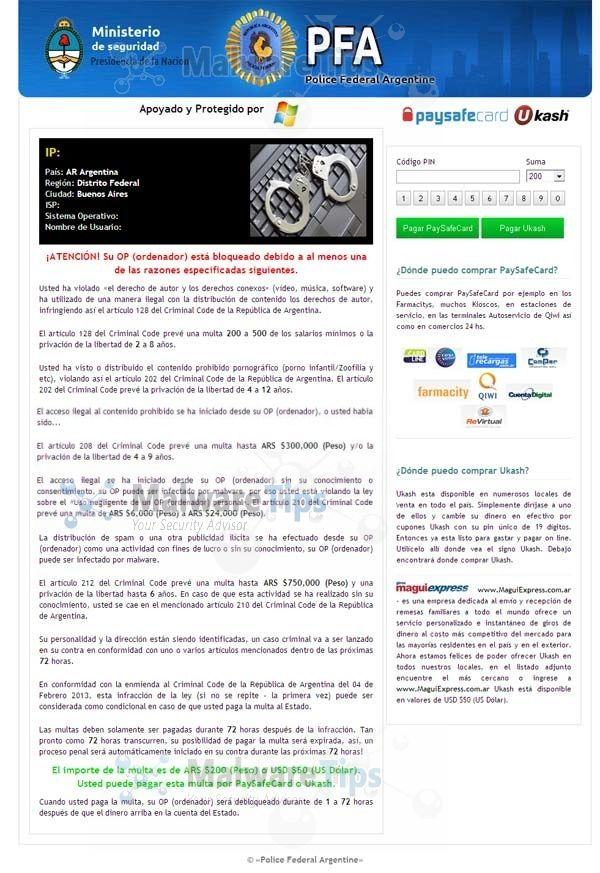 Remove Ministerio De Seguridad Virus Ukash Scam