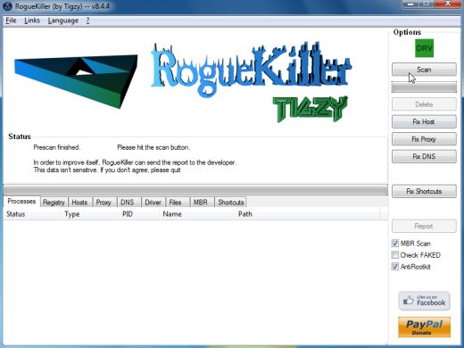[Image: RogueKiller scaning for Trojan:Win32/QHosts virus]