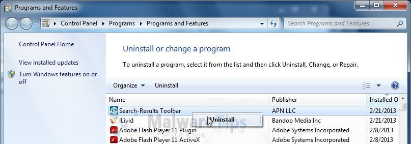Then select uninstall a program search and uninstall search results