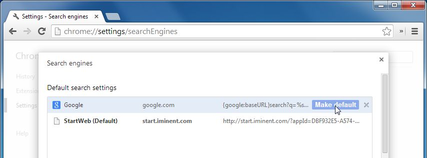 Search for Iminent StartWeb (search.iminent.com) in the Search Engines