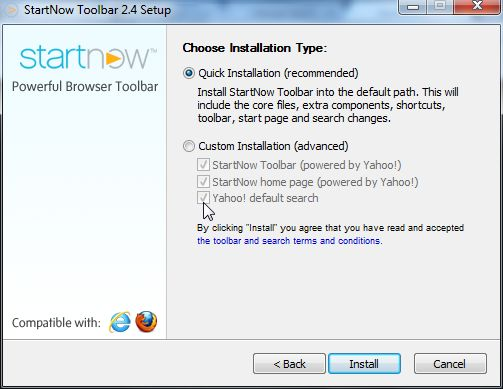 [Image: StartNow Toolbar installation process]