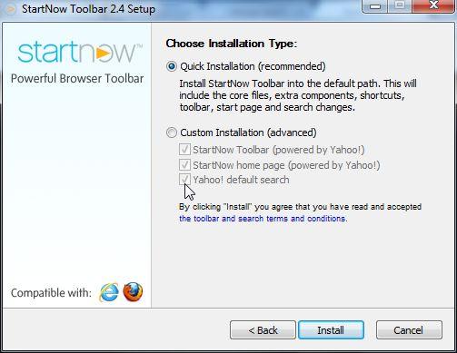 [Image: StartNow Toolbar installation process]