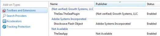[Image: TheSeaApp Internet Explorer add-ons]
