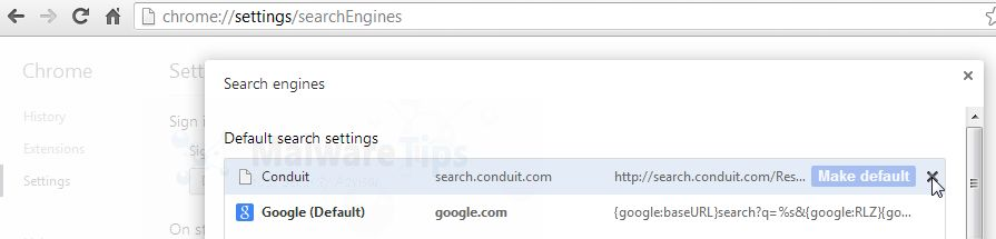 [Image: Click on X to remove Conduit Search from Chrome]