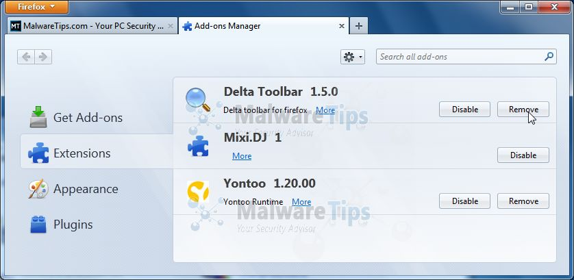 [Image: Remove Delta Toolbar, Mixi.DJ and Yontoo from Firefox]