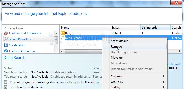 [Image: Delta Search Internet Explorer redirect virus removal]