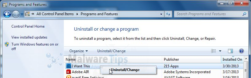 [Image: Uninstall  I Want This adware]