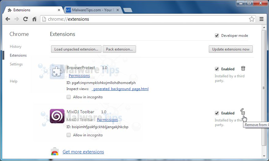 [Image: Mixi DJ Search Chrome extensions]