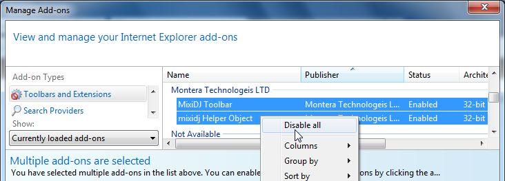 [Image: Mixi DJ Search Internet Explorer plugins]