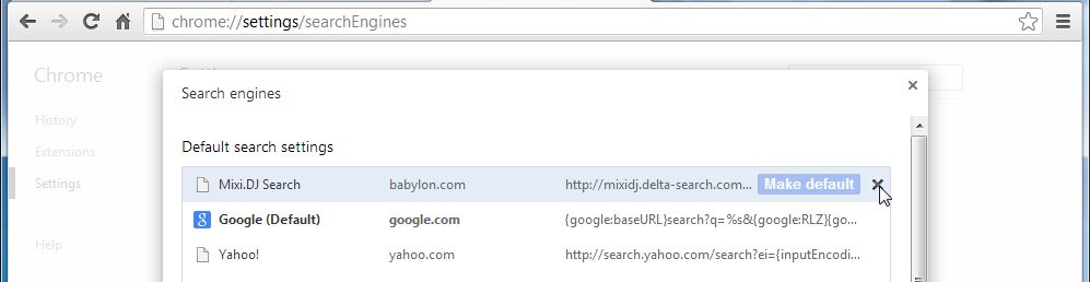 [Image: Mixi.DJ Search Chrome redirect removal]
