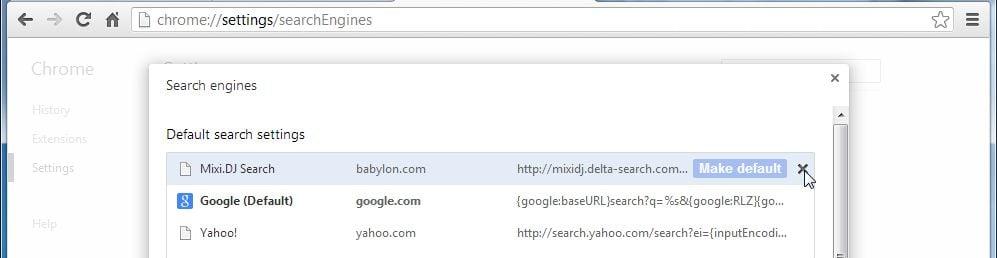 [Image: Mixi.DJ Search Chrome redirect removal]