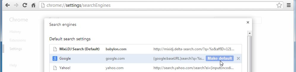 [Image: Mixi DJ Search Chrome redirect]
