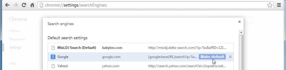 [Image: Mixi DJ Search Chrome redirect]