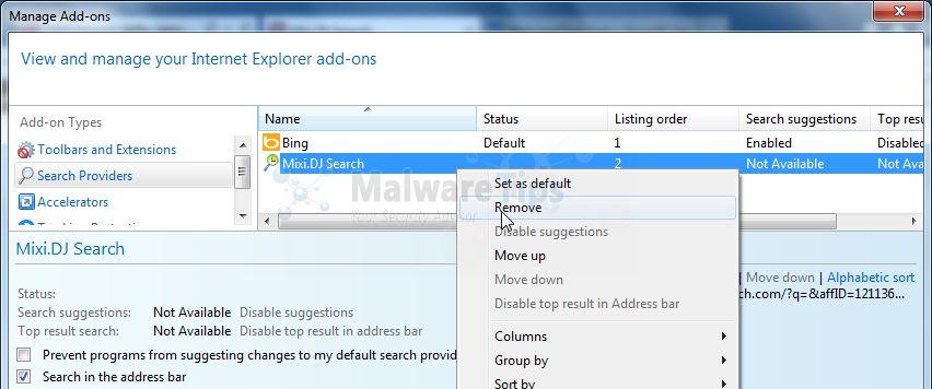 [Image: Remove Mixi DJ Search from Internet Explorer]