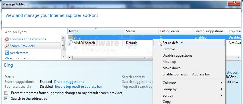 [Image: Mixi DJ Search Internet Explorer redirect]