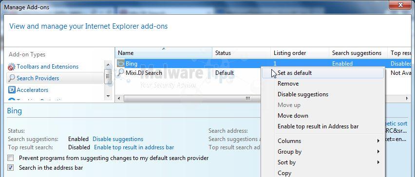 [Image: Mixi DJ Search Internet Explorer redirect]