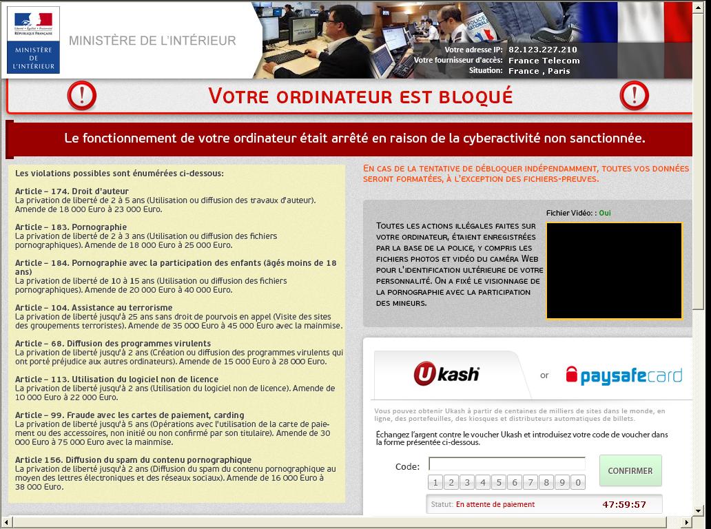 Image Police Gendarmerie Nationale Ukash Scam