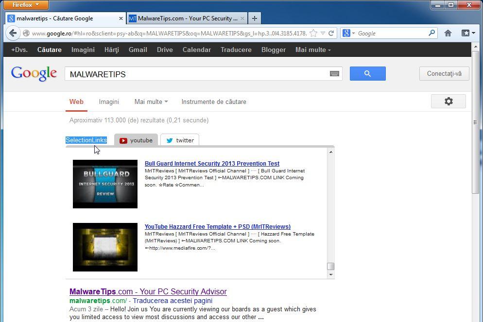 [Image: SelectionLinks Google virus]