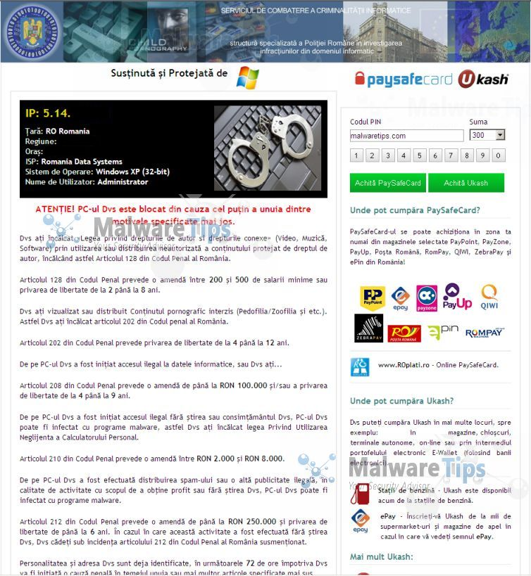[Image: Serviciul De Combatere A Criminalitatii Informatice virus]