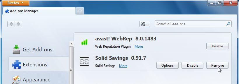 [Image: Solid Savings Firefox extension]