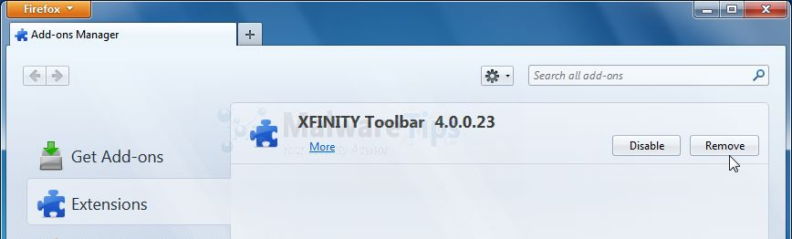 [Image: Xfinity Firefox extensions]