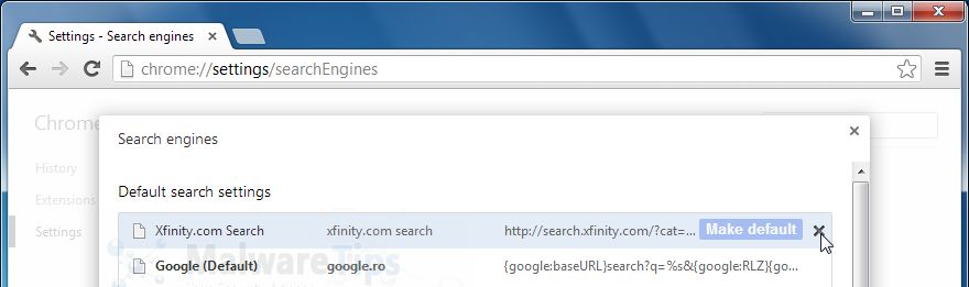 [Image: XFinity Search Chrome removal]
