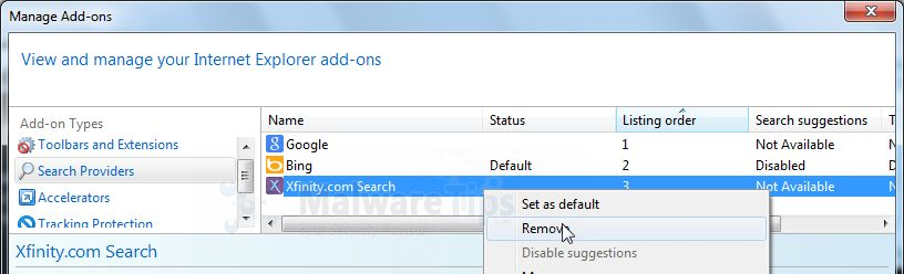 [Image: XFinity Internet Explorer add-ons]