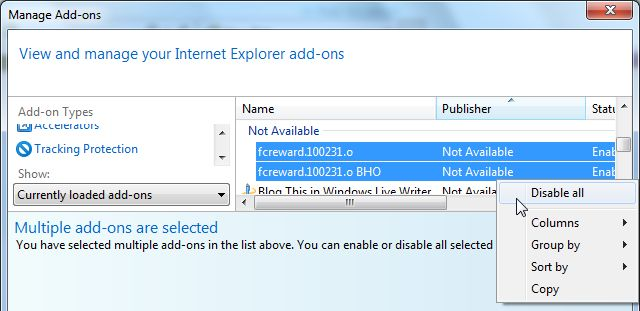 [Image:  Screenshot of  Bucksbee Search Internet Explorer add-ons]