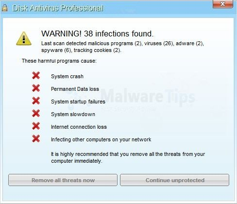 [Image: Disk Antivirus Professional Warning