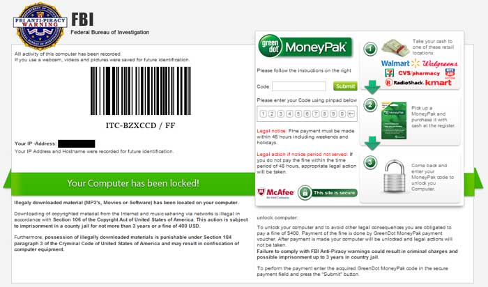 [Image: FBI lock screen virus (MoneyPak Scam)]