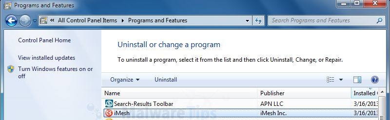 [Image: Uninstall iMesh and Search Results programs ]