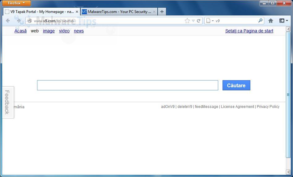 [Image: v9.com New Tab virus]