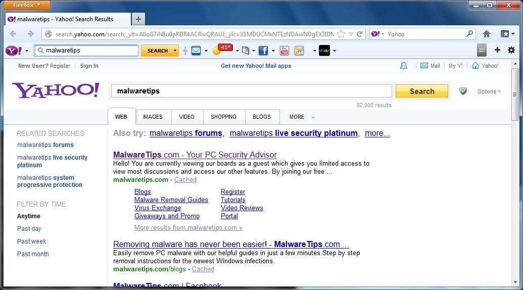 [Image: Yahoo Search virus]