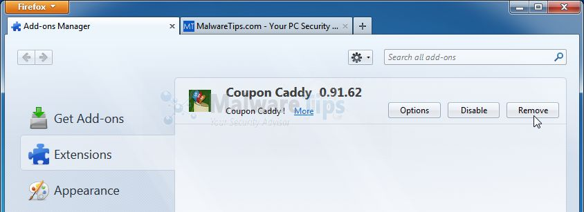 [Image: Coupon Caddy Firefox extension]