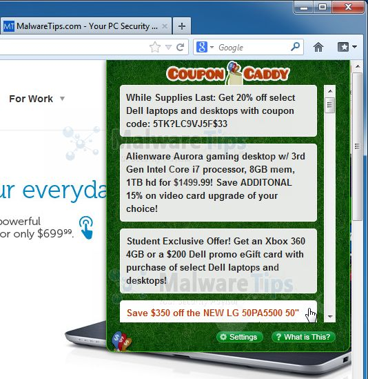 [Image: Coupon Caddy virus]