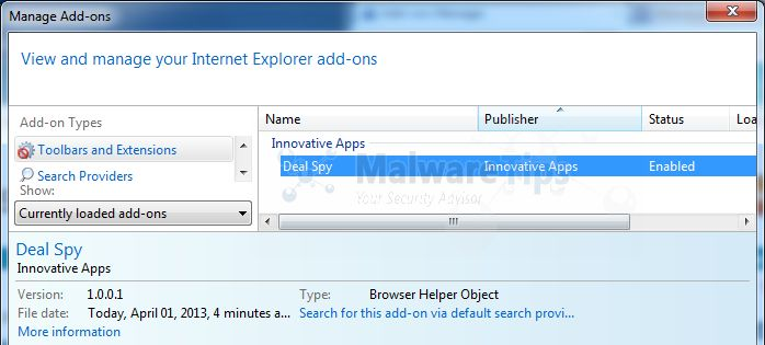 [Image: Deal Spy Internet Explorer extension]