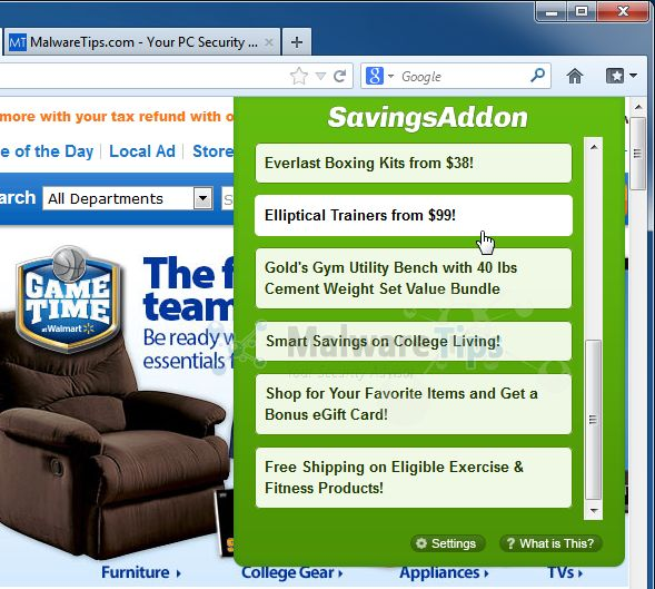 [Image: Savings Addon virus]