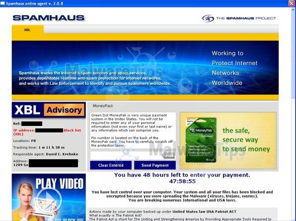 Remove Spamhaus virus (Moneypak Scam)