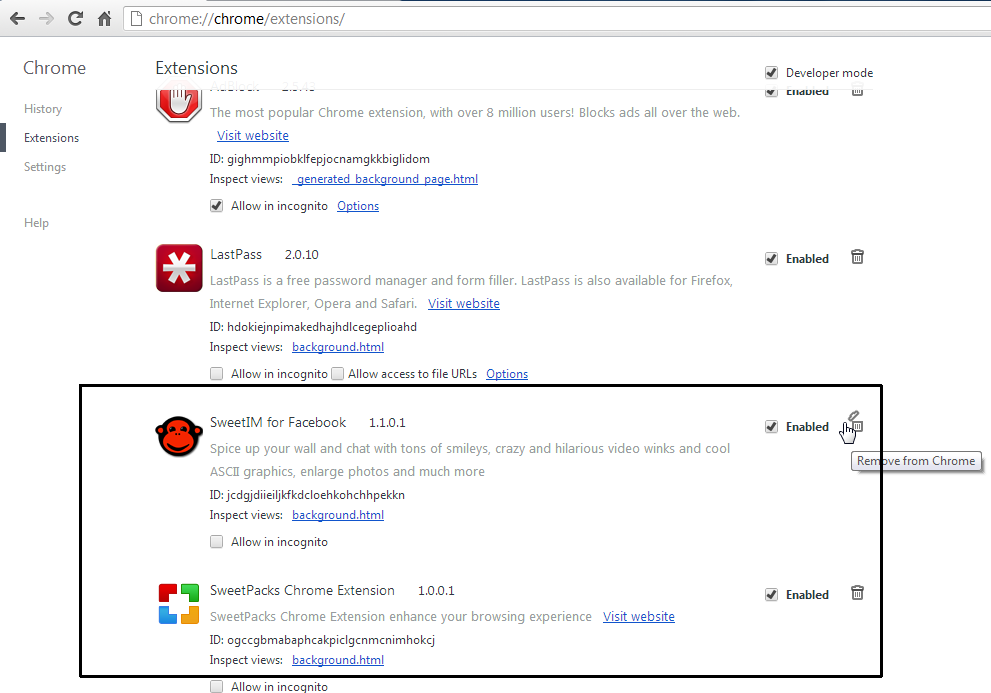 [Image: Sweetpacks Chrome extensions]